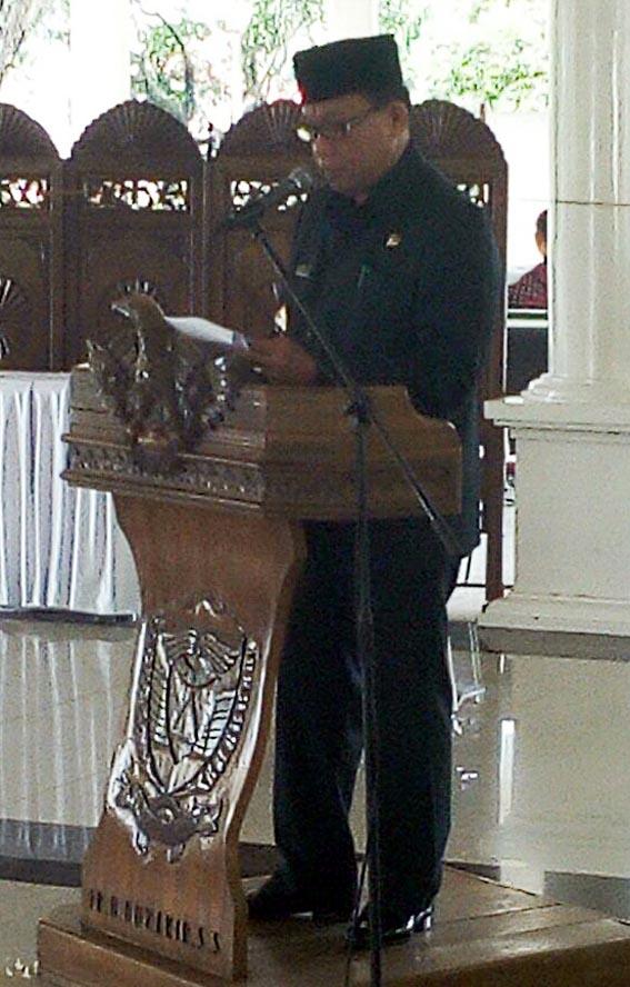 Bupati Muaraenim H Muzakir Sai Sohar saat menyampaikan sambutan