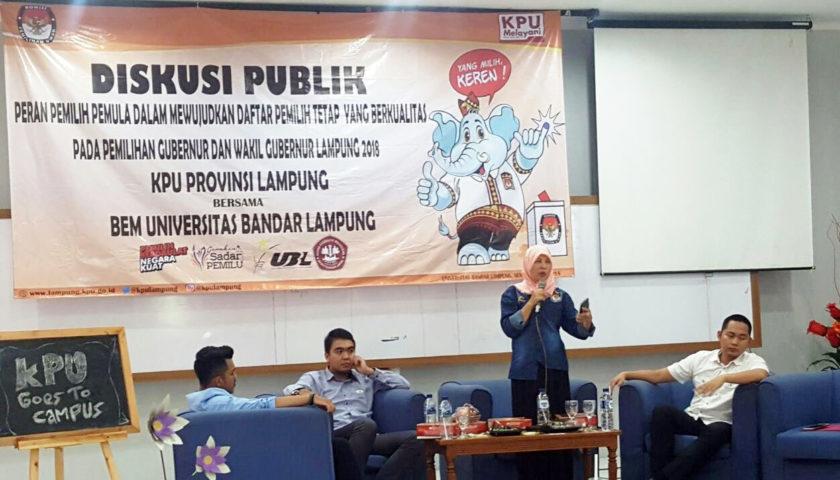 BEM FH UBL Dan KPU Lampung Gelar Diskusi Publik Pemilu