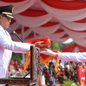 HUT RI Ke-74 di Muaraenim, Bupati Inspektur Upacara, Wabup Pimpin Penurunan