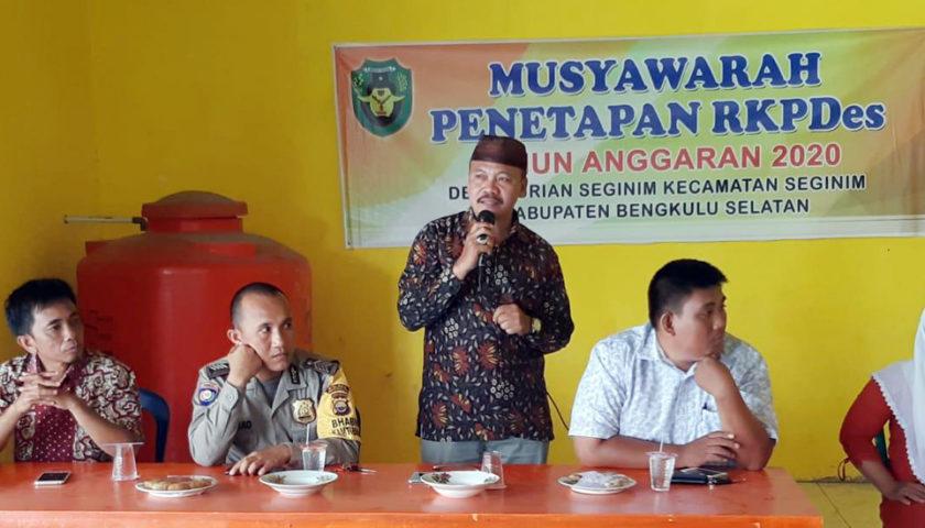 Pemdes Durian Seginim Gelar Musyawarah Penetapan RKPDes