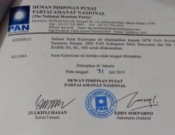 DPP PAN Berikan Mandat Kepada H. Rabik HS Nahkodai DPRD Muba