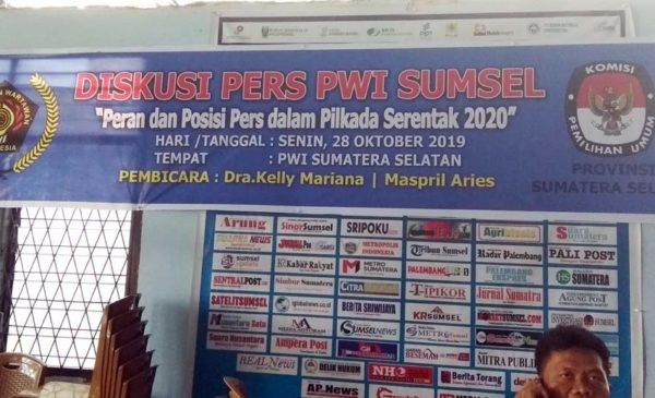 Diskusi Pers, PWI Sumsel Bersama KPU Sumsel Bahas Pilkada Serentak 2020