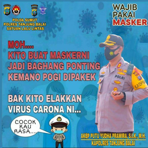 Polres Kota Tanjungbalai Gelar Imbauan Prokes dan Bagikan Masker