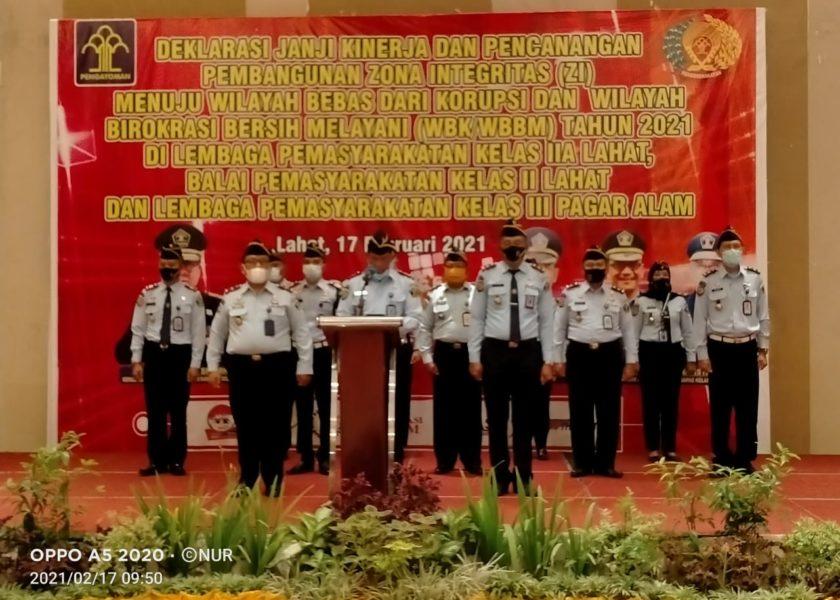 Menuju WBK dan WBBM, Lapas dan Bapas Lahat Serta Pagaralam Deklarasi Janji Kinerja