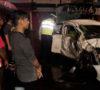 Hantam Patung Polwan Honda Brio Jungkir Balik