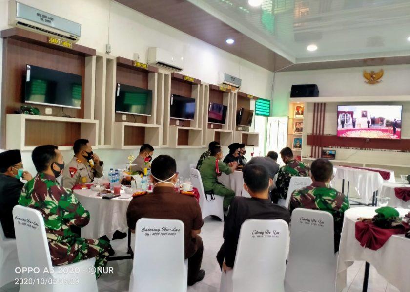 Melalui Vidcon, Dandim 0405 Peringati HUT TNI ke 75 bersama Presiden RI Joko Widodo